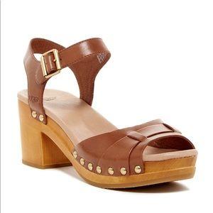 NWOB Ugg Janie Clog Sandal Chestnut Leather 6